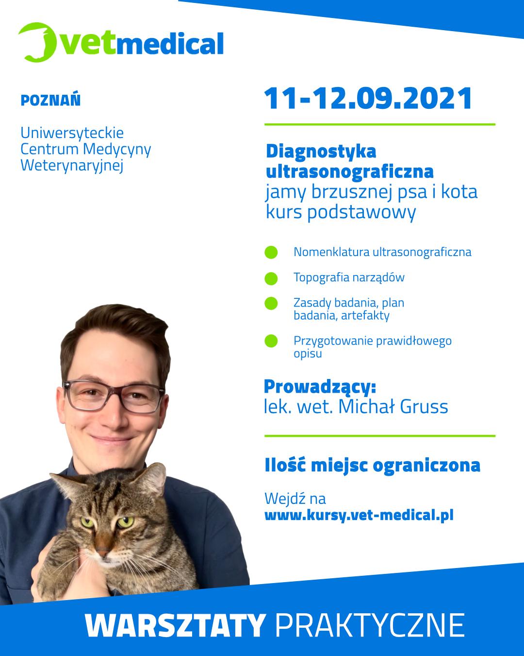 Poznań 11-12.09.2021 – Diagnostyka ultrasonograficzna jamy brzusznej psa i kota