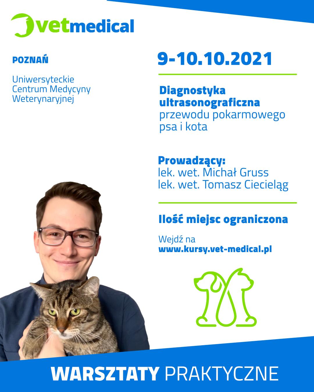 Poznań 9-10.10.2021 – Diagnostyka ultrasonograficzna przewodu pokarmowego psa i kota